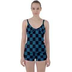 SQUARE1 BLACK MARBLE & TEAL LEATHER Tie Front Two Piece Tankini