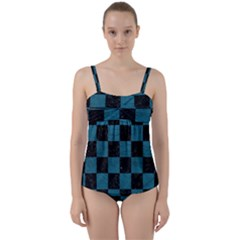 SQUARE1 BLACK MARBLE & TEAL LEATHER Twist Front Tankini Set