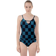 SQUARE1 BLACK MARBLE & TEAL LEATHER Cut Out Top Tankini Set
