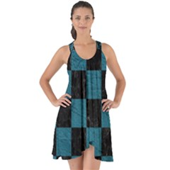 SQUARE1 BLACK MARBLE & TEAL LEATHER Show Some Back Chiffon Dress
