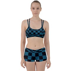 SQUARE1 BLACK MARBLE & TEAL LEATHER Women s Sports Set