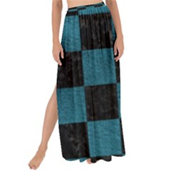 SQUARE1 BLACK MARBLE & TEAL LEATHER Maxi Chiffon Tie-Up Sarong