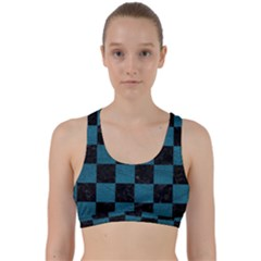 SQUARE1 BLACK MARBLE & TEAL LEATHER Back Weave Sports Bra