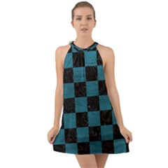 SQUARE1 BLACK MARBLE & TEAL LEATHER Halter Tie Back Chiffon Dress