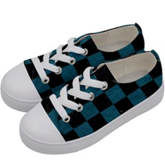 SQUARE1 BLACK MARBLE & TEAL LEATHER Kids  Low Top Canvas Sneakers