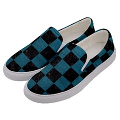 SQUARE1 BLACK MARBLE & TEAL LEATHER Men s Canvas Slip Ons