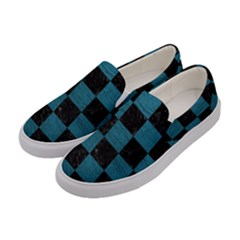 SQUARE1 BLACK MARBLE & TEAL LEATHER Women s Canvas Slip Ons