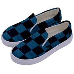 SQUARE1 BLACK MARBLE & TEAL LEATHER Kids  Canvas Slip Ons