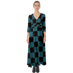 SQUARE1 BLACK MARBLE & TEAL LEATHER Button Up Boho Maxi Dress