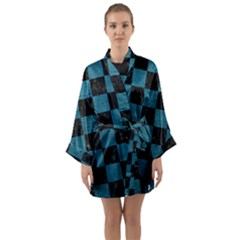 SQUARE1 BLACK MARBLE & TEAL LEATHER Long Sleeve Kimono Robe