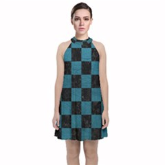 SQUARE1 BLACK MARBLE & TEAL LEATHER Velvet Halter Neckline Dress