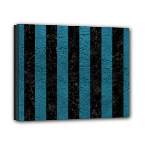 Stripes1 Black Marble & Teal Leather Canvas 10  X 8  by trendistuff