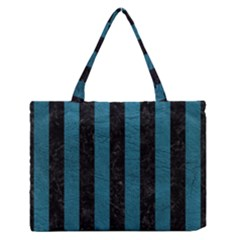 Stripes1 Black Marble & Teal Leather Zipper Medium Tote Bag by trendistuff
