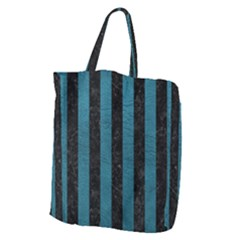 Stripes1 Black Marble & Teal Leather Giant Grocery Zipper Tote