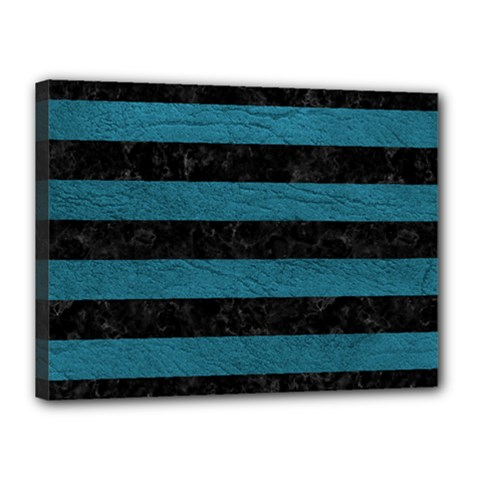 Stripes2 Black Marble & Teal Leather Canvas 16  X 12  by trendistuff