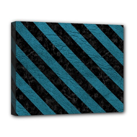 Stripes3 Black Marble & Teal Leather Deluxe Canvas 20  X 16   by trendistuff
