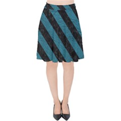 Stripes3 Black Marble & Teal Leather Velvet High Waist Skirt