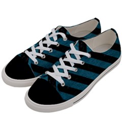 Stripes3 Black Marble & Teal Leather Women s Low Top Canvas Sneakers by trendistuff