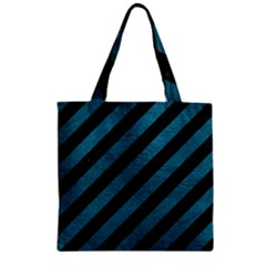 Stripes3 Black Marble & Teal Leather (r) Zipper Grocery Tote Bag by trendistuff