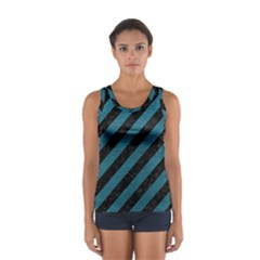 Stripes3 Black Marble & Teal Leather (r) Sport Tank Top  by trendistuff