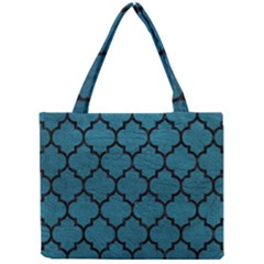 Tile1 Black Marble & Teal Leather Mini Tote Bag by trendistuff
