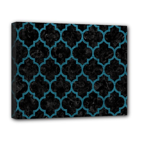 Tile1 Black Marble & Teal Leather (r) Deluxe Canvas 20  X 16   by trendistuff