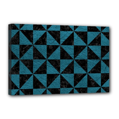 Triangle1 Black Marble & Teal Leather Canvas 18  X 12  by trendistuff