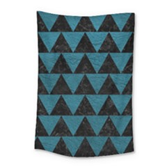 Triangle2 Black Marble & Teal Leather Small Tapestry