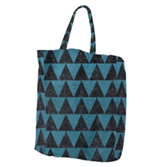 Triangle2 Black Marble & Teal Leather Giant Grocery Zipper Tote by trendistuff