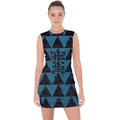 Triangle2 Black Marble & Teal Leather Lace Up Front Bodycon Dress