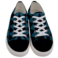 Triangle2 Black Marble & Teal Leather Women s Low Top Canvas Sneakers