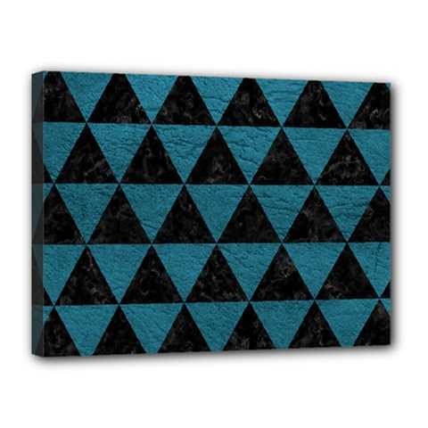 Triangle3 Black Marble & Teal Leather Canvas 16  X 12  by trendistuff
