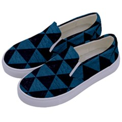Triangle3 Black Marble & Teal Leather Kids  Canvas Slip Ons by trendistuff