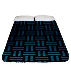 Woven1 Black Marble & Teal Leather (r) Fitted Sheet (king Size) by trendistuff