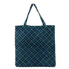 Woven2 Black Marble & Teal Leather Grocery Tote Bag by trendistuff