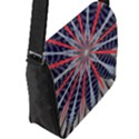 Red White Blue Kaleidoscopic Star Flower Design Flap Messenger Bag (L)  View2