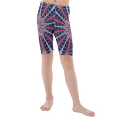 Red White Blue Kaleidoscopic Star Flower Design Kids  Mid Length Swim Shorts by yoursparklingshop