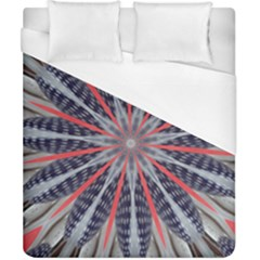 Red White Blue Kaleidoscopic Star Flower Design Duvet Cover (california King Size)