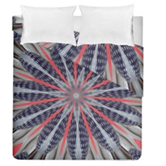 Red White Blue Kaleidoscopic Star Flower Design Duvet Cover Double Side (queen Size)