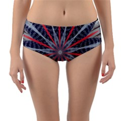 Red White Blue Kaleidoscopic Star Flower Design Reversible Mid Waist Bikini Bottoms by yoursparklingshop