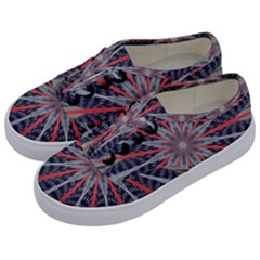 Red White Blue Kaleidoscopic Star Flower Design Kids  Classic Low Top Sneakers by yoursparklingshop