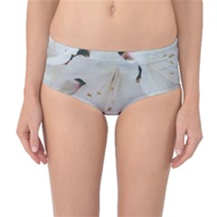 Floral Design White Flowers Photography Mid Waist Bikini Bottoms