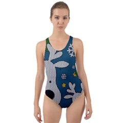 Cute Reindeer  Cut Out Back One Piece Swimsuit