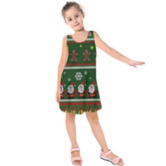 Ugly Christmas Sweater Kids  Sleeveless Dress by Valentinaart