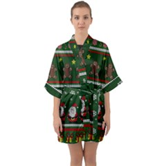 Ugly Christmas Sweater Quarter Sleeve Kimono Robe by Valentinaart