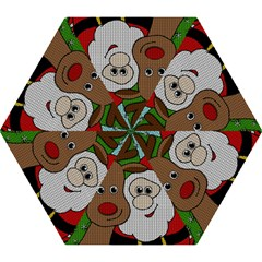 Santa And Rudolph Selfie  Mini Folding Umbrellas by Valentinaart