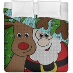 Santa And Rudolph Selfie  Duvet Cover Double Side (king Size)