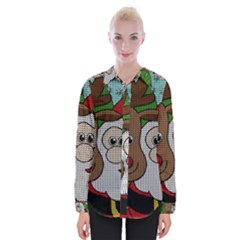 Santa And Rudolph Selfie  Womens Long Sleeve Shirt by Valentinaart