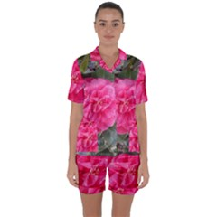 Pink Flower Japanese Tea Rose Floral Design Satin Short Sleeve Pyjamas Set