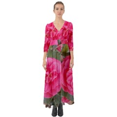 Pink Flower Japanese Tea Rose Floral Design Button Up Boho Maxi Dress by yoursparklingshop
